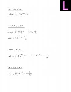 Calculate sin minus 30 degrees.