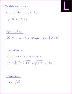 Problem 1144: Find the modulus of z = 2 - 3i