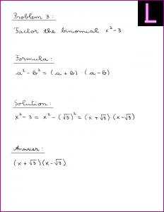 Factor the binomial (X^2 - 3)