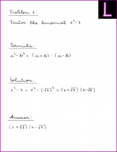 Factor the binomial (X^2 - 7)