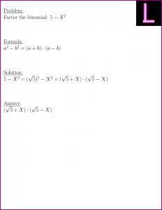 Factor the binomial (5 - X^2)
