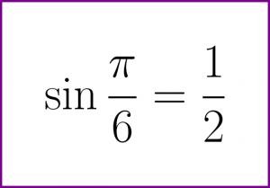 Exact value of sine of PI/6