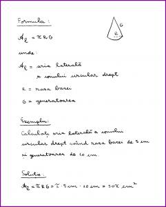 Learn Math In Romanian - Aria laterala a conului circular drept (scris de mana)