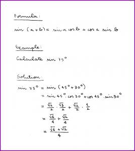 sin (a + b) (formula and example) (sine of sum) (trigonometry) (handwritten)